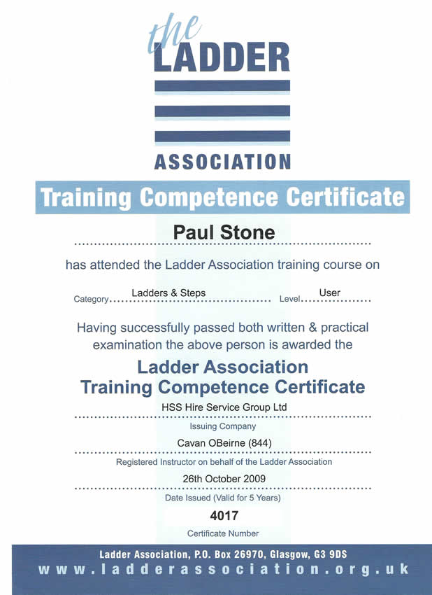 Ladder Competency Certificate
